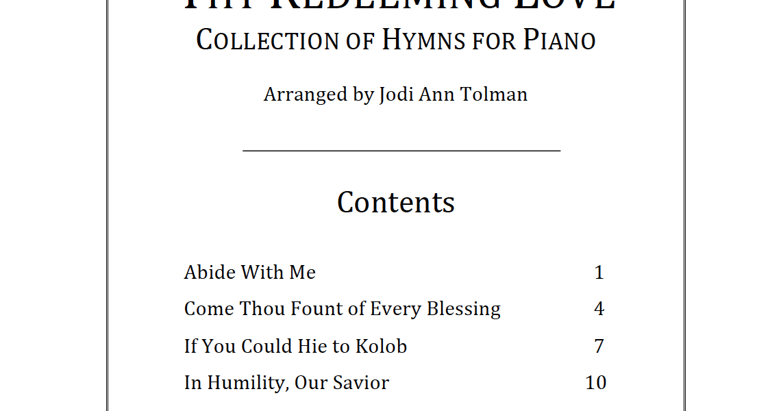 Thy Redeeming Love: Collection of Hymns for Piano | Music by Jodi Ann
