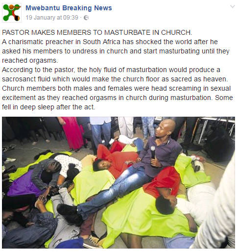 WTF? Controversial SA Pastor Makes Members Mastrubate In Church