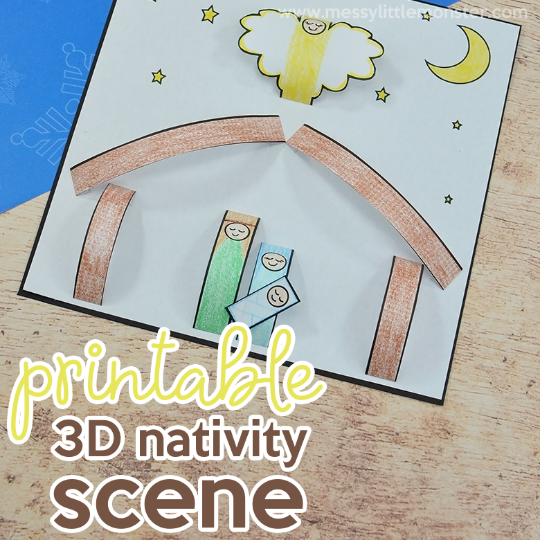 photograph about Printable Nativity referred to as Printable Nativity Scene - 3D small children nativity craft - Messy