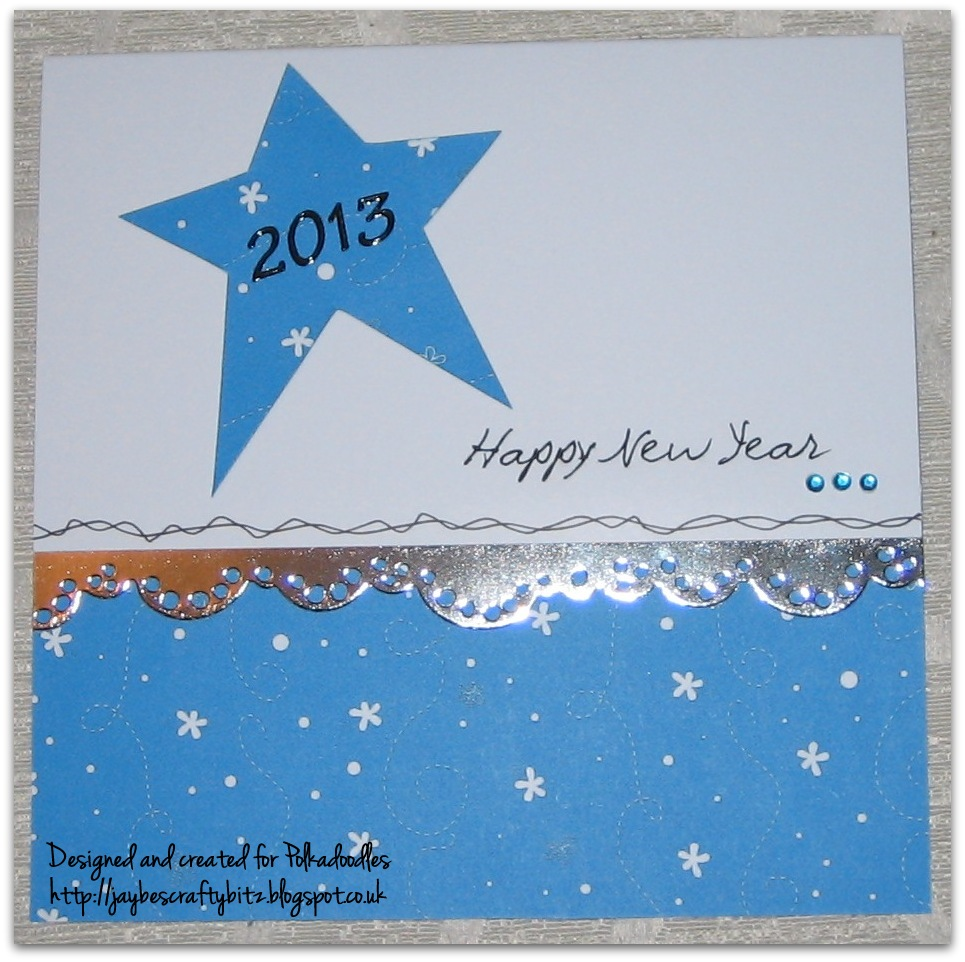 a little mirri card die cut border and a happy new year greeting printed on my computer to finish happy new year everyone