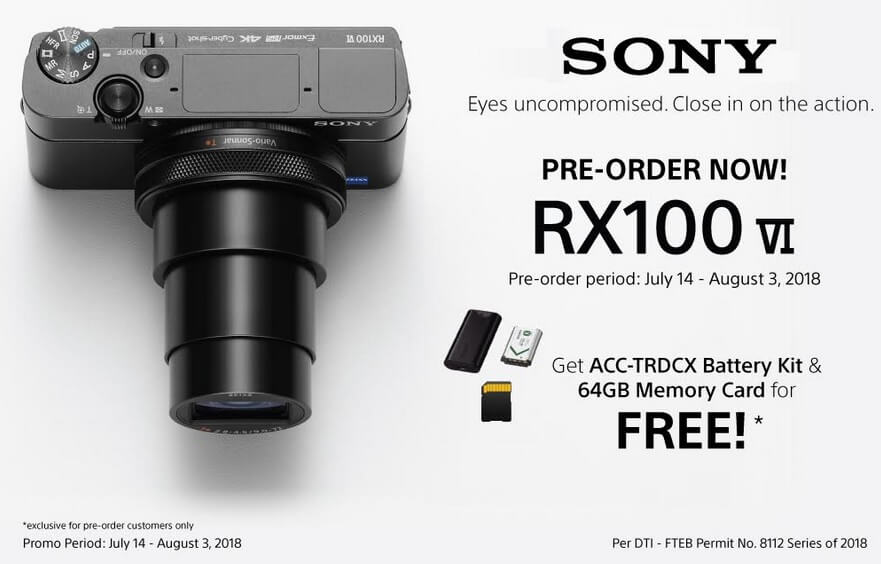 Sony Cyber-shot RX100 VI Arriving in PH on August 4; Boasts 24-200mm F2.8–F4.5 Lens, 0.03s AF Speed