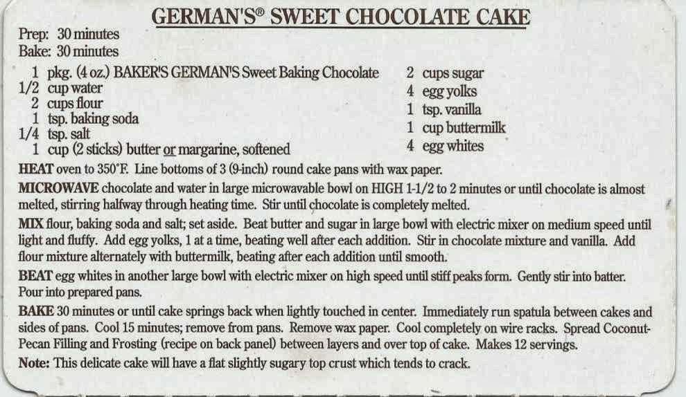 Baker S German Chocolate Cake