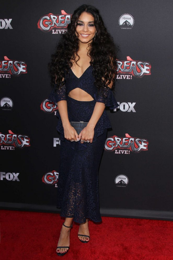 Vanessa Hudgens wears a lace cutout dress to the Grease event in Hollywood