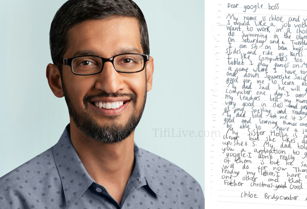 Sundar Pichai , CEO of Google Replied to Letter Written By 7 Years Old Girl Who Applied For Job At Google