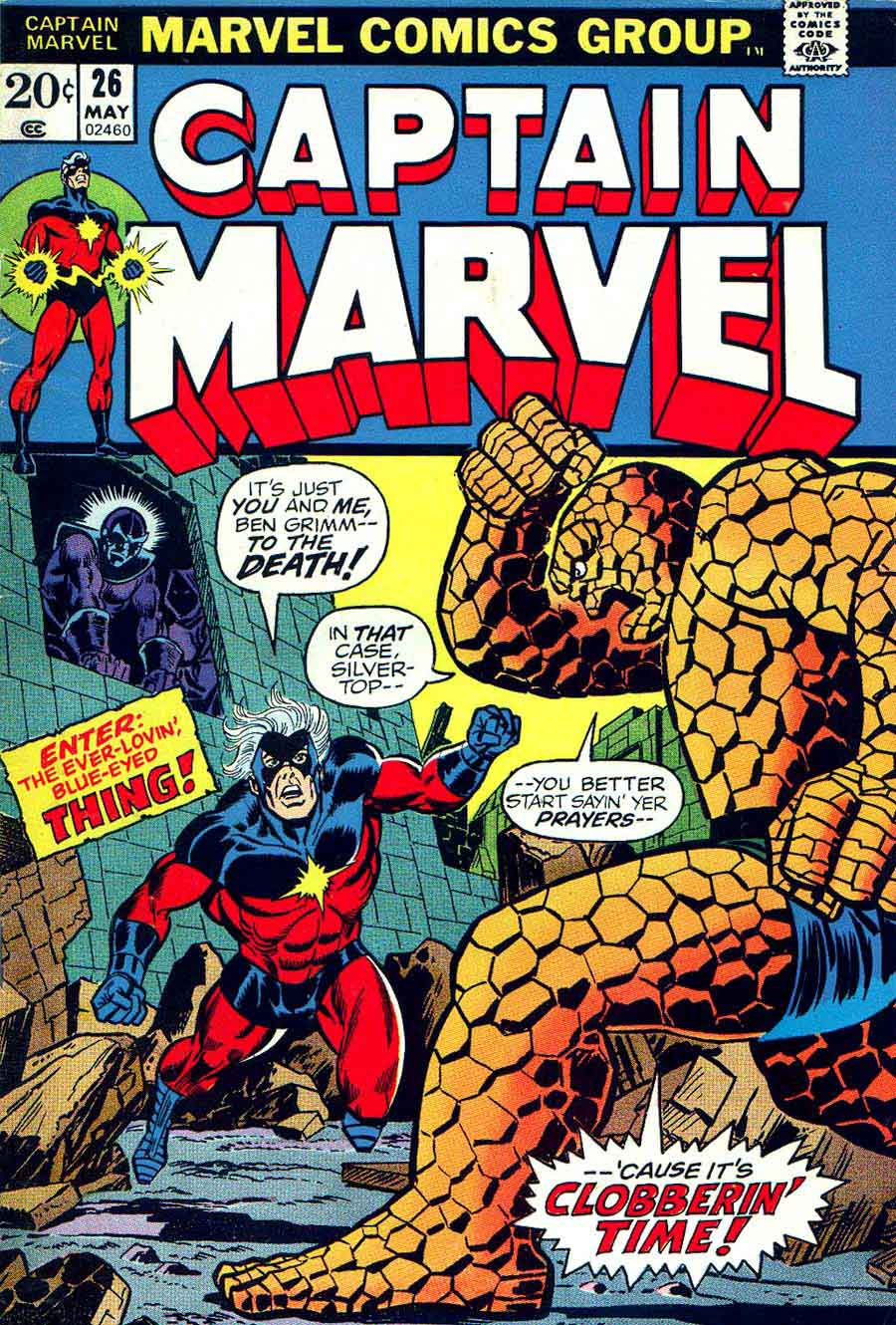 Captain Marvel #26 marvel 1970s bronze age comic book cover art by Jim Starlin
