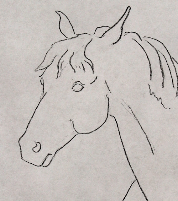 art, arte, drawing, Sarah, Myers, dessin, dibujo, minimal, minimalism, horse, caballo, line, line-drawing, charcoal, animal, simple, modern, contemporary, mane, detail, close-up, head, eyes