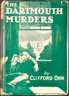 "The green and white dust jacket for ""The Dartmouth Murders."""