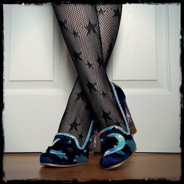 wearing Irregular Choice Stars At Night fur cat shoes