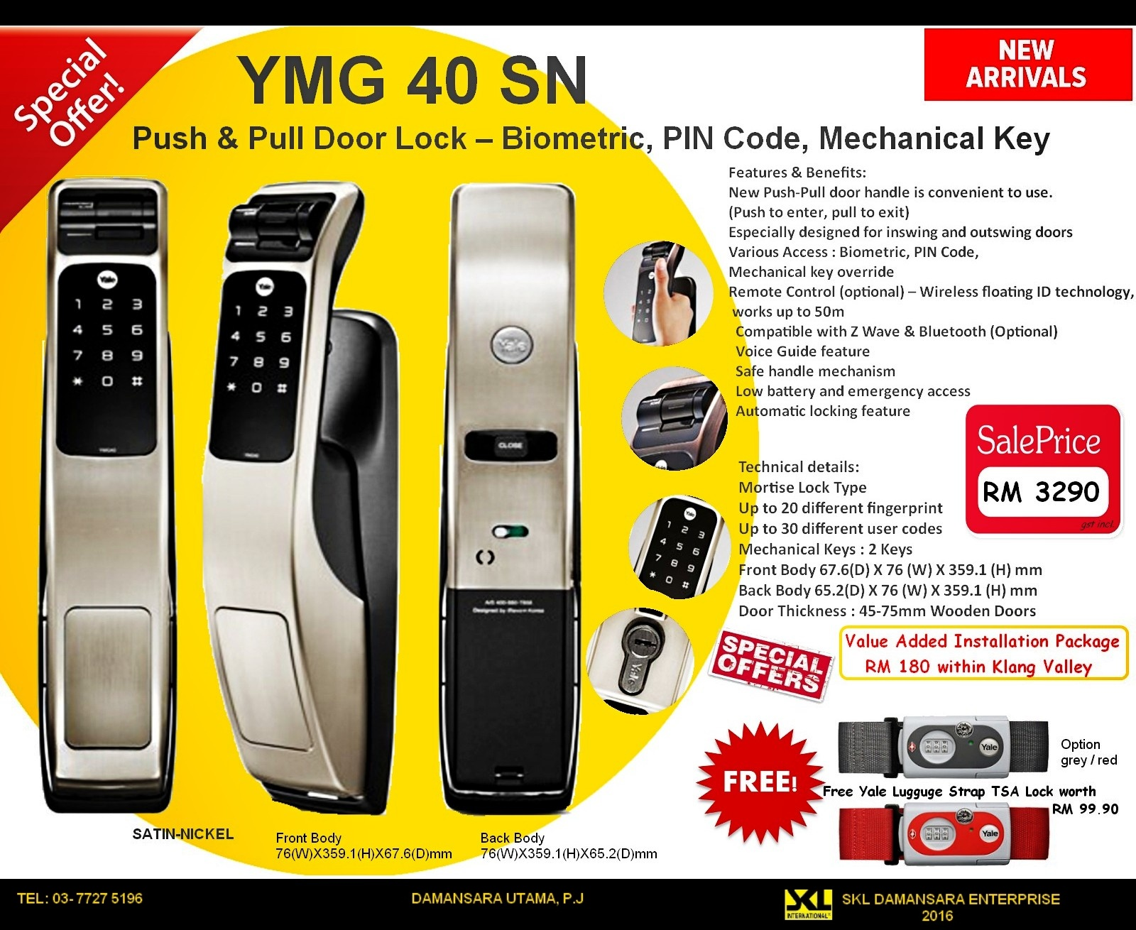 New Arrival Yale YMG40  Push & Pull Door Lock – Biometric