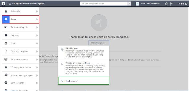Thêm trang mới vào tài khoản quảng cáo Business