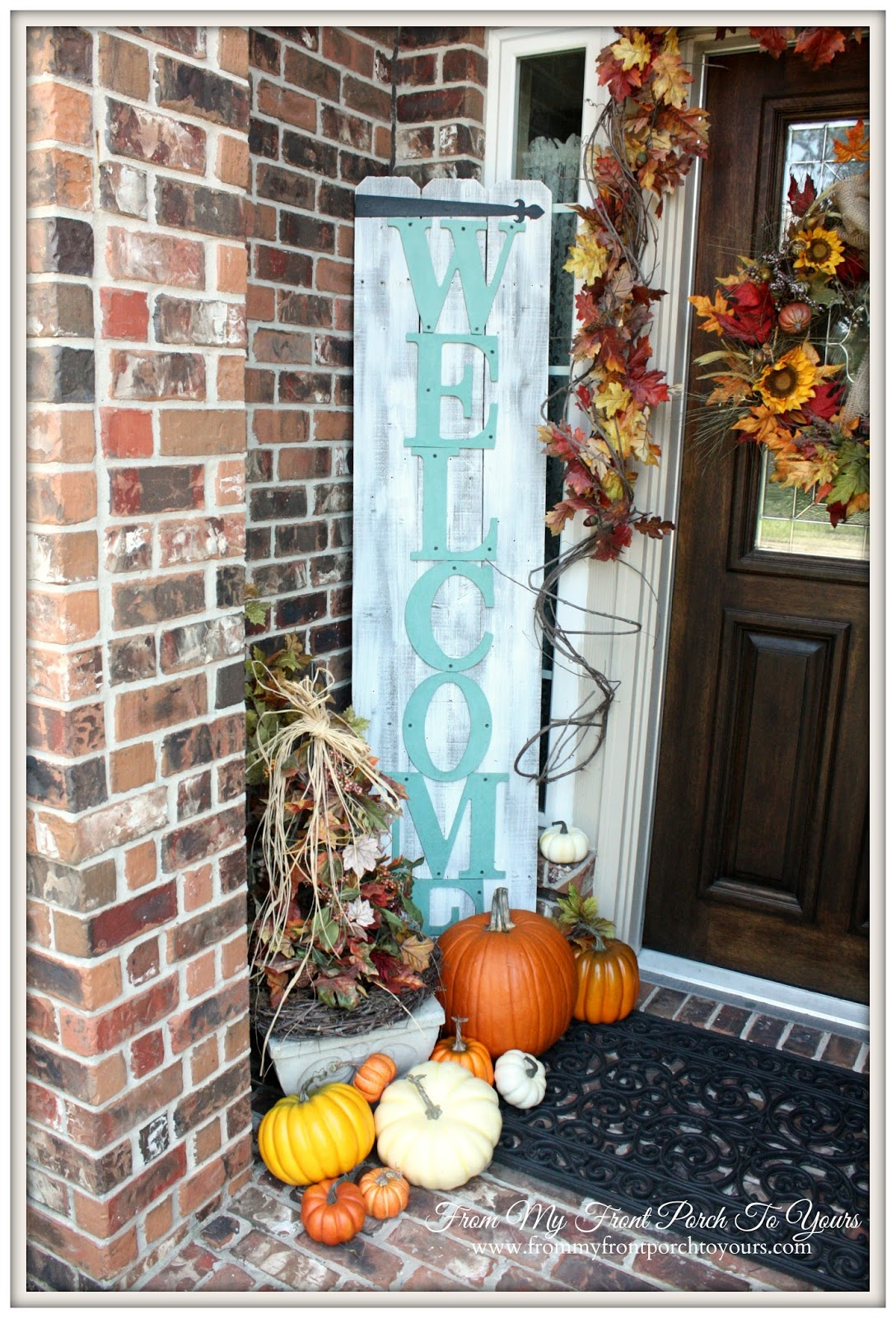 From My Front Porch To Yours- Falling For Fall Porch Party- Welcome Sign and Pumpkins