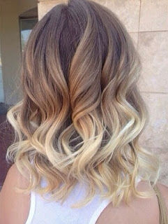 Shoulder length layered hair with an ombre