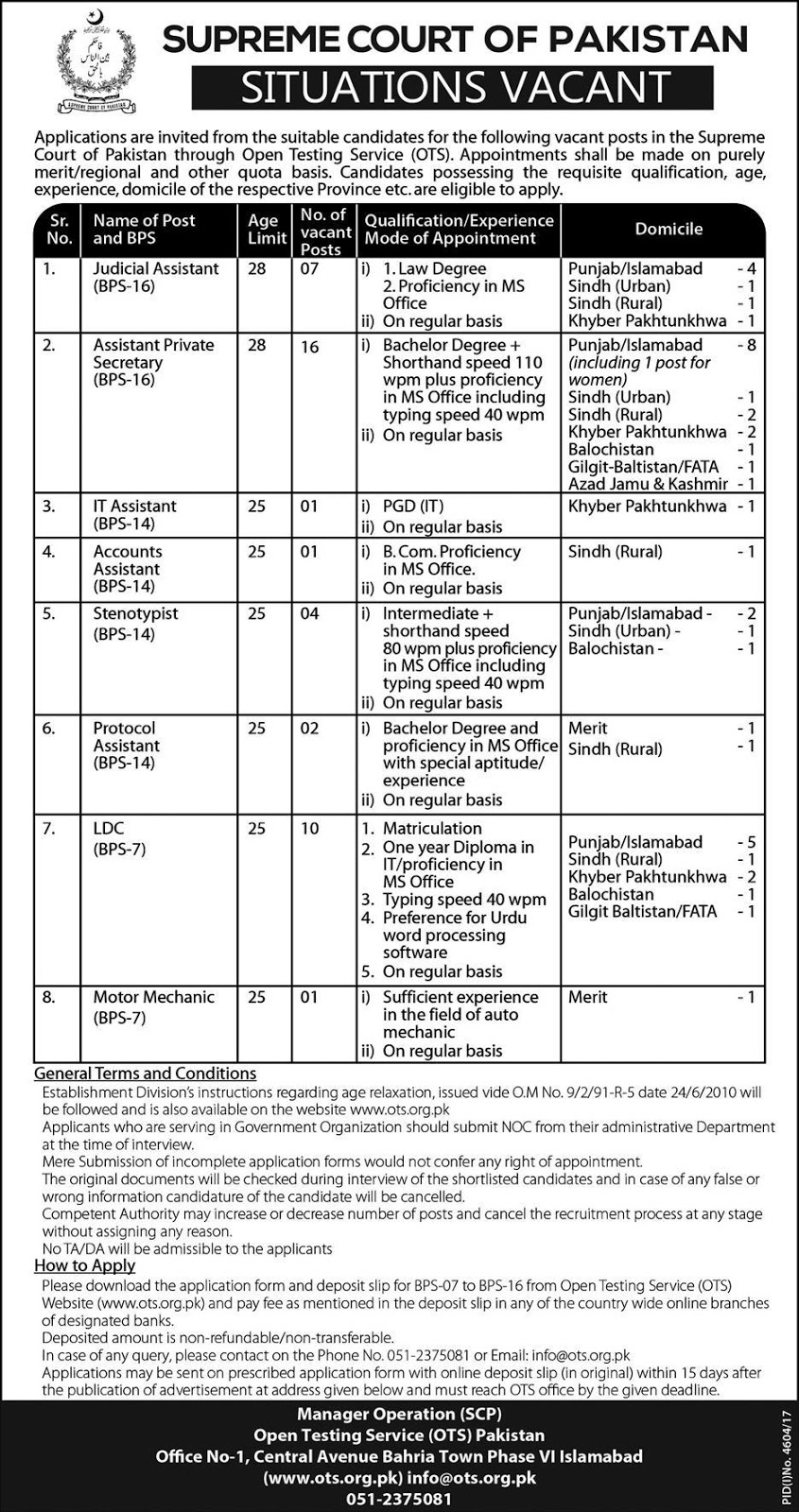 Jobs in Supreme Court of Pakistan Jobs 2018
