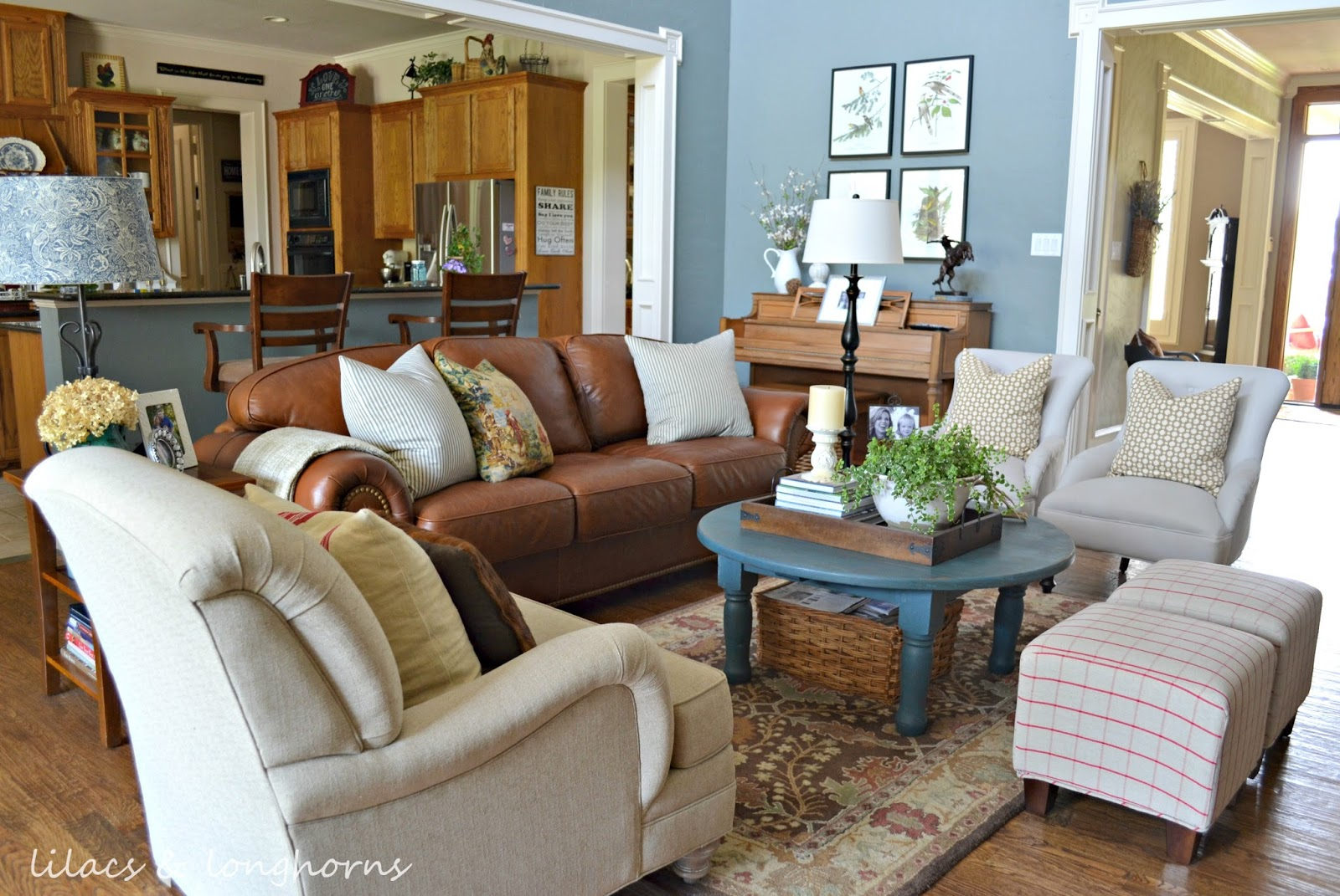 Traditional Cottage Farmhouse Style Home Tour Debbiedoos Leather Couch