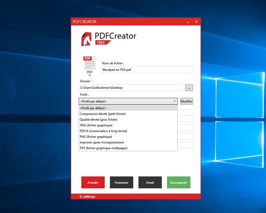 pdfcreator   transformer un fichier  doc  rtf  txt