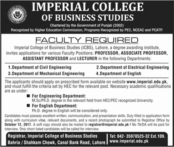 Jobs In  Imperial College Of Business Studies Lahore Oct 2017