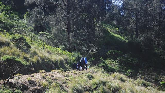 Foto Jalan Kaki Para Pendaki Gunung Semeru