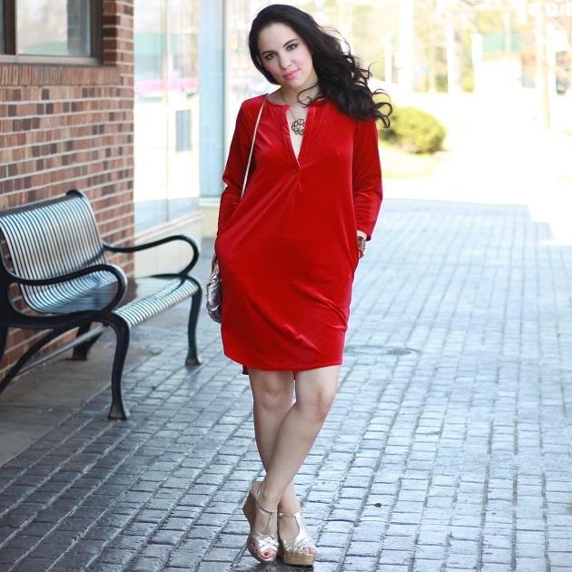 Red Velour Dress