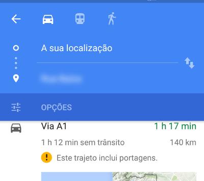 Como evitar portagens usando o Google Maps