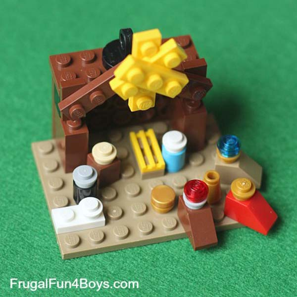 Lego Christmas ornament - nativity with wisemen and manger