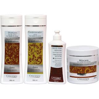 Kit shampoo, condicionador, creme e máscara tratamento de ostra