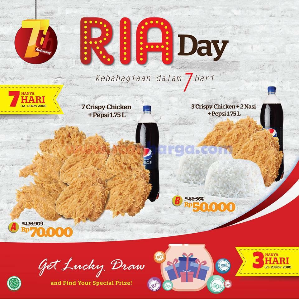 Promo LOTTERIA Terbaru RiaDay Ulang Tahun ke7 Periode 12 - 18 November 2018