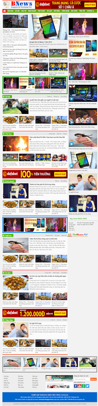 BNews v1.0.1 - Template tin tức dạng Responsive cho Blogspot