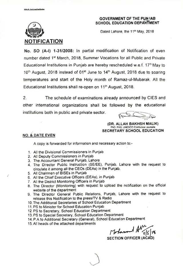 NOTIFICATION REGARDING SUMMER VACATIONS FOR ALL PUBLIC AND PRIVATE EDUCATIONAL INSTITUTIONS IN PUNJAB