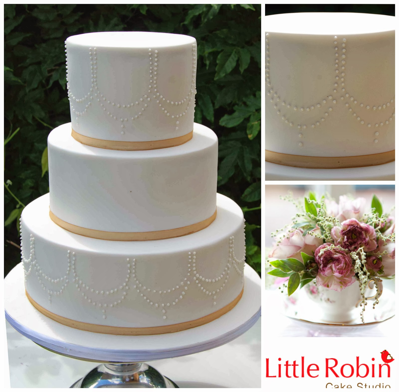 golden wedding cake ribbon robin 3 tier wedding cake with pipping and gold ribbon 14765