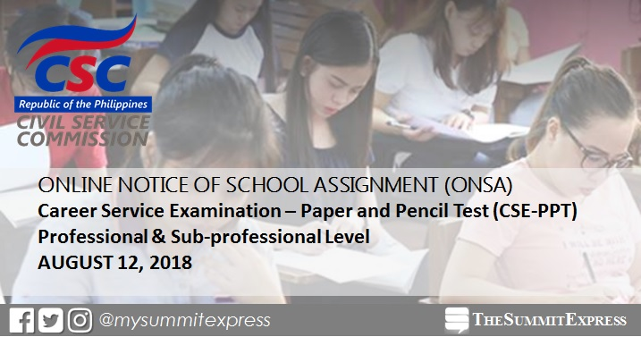 Room assignment ONSA, reminders for August 12, 2018 civil service exam CSE-PPT
