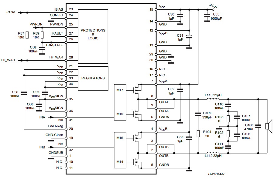 140w power amplifier with sta5100