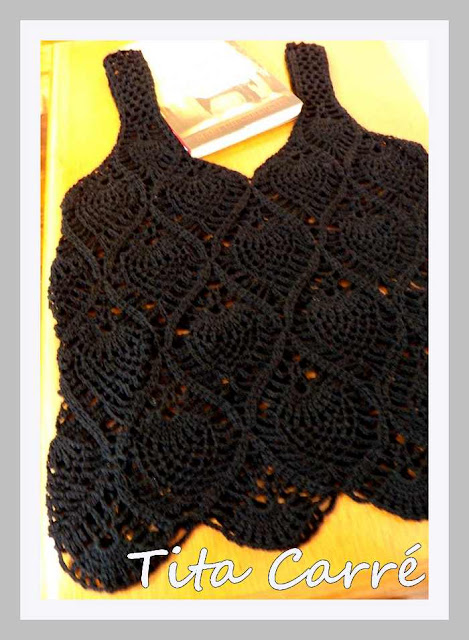 Regata Pineapple Preta em crochet