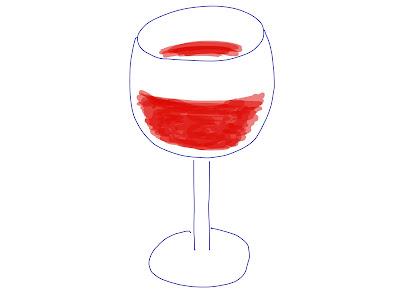 アイコン 「ワイン」 (作: 塚原 美樹) ~ 注がれた赤ワインを描く