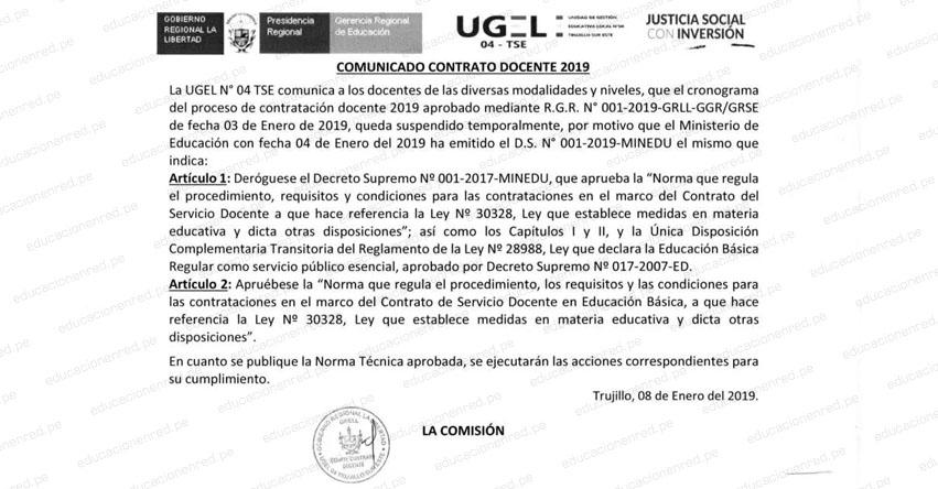 Suspenden Cronograma Regional para Contratación Docente en La Libertad