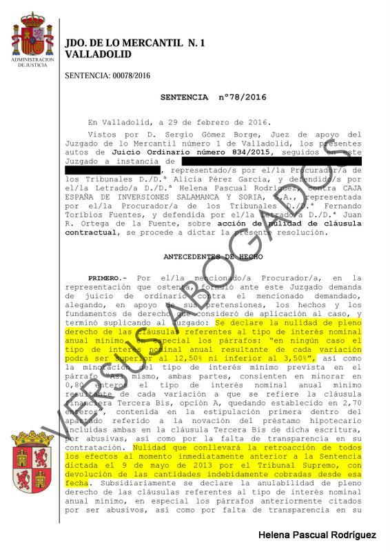 Entre c digos y leyes nueva sentencia de nulidad de for Sentencia clausula suelo 2016