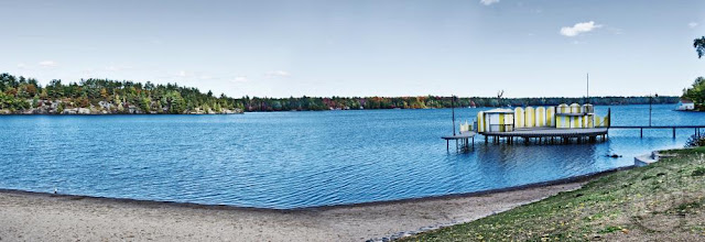 A wide angle view of Gull Lake Park in Gravenhurst.