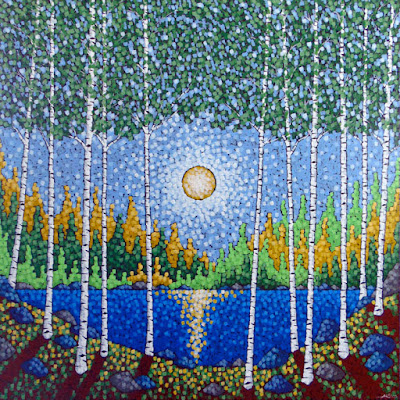 The Landscape of Summer acrylic painting by artist aaron kloss, painting of birch, pointillism, minnesota landscape painting, contemporary landscape painting