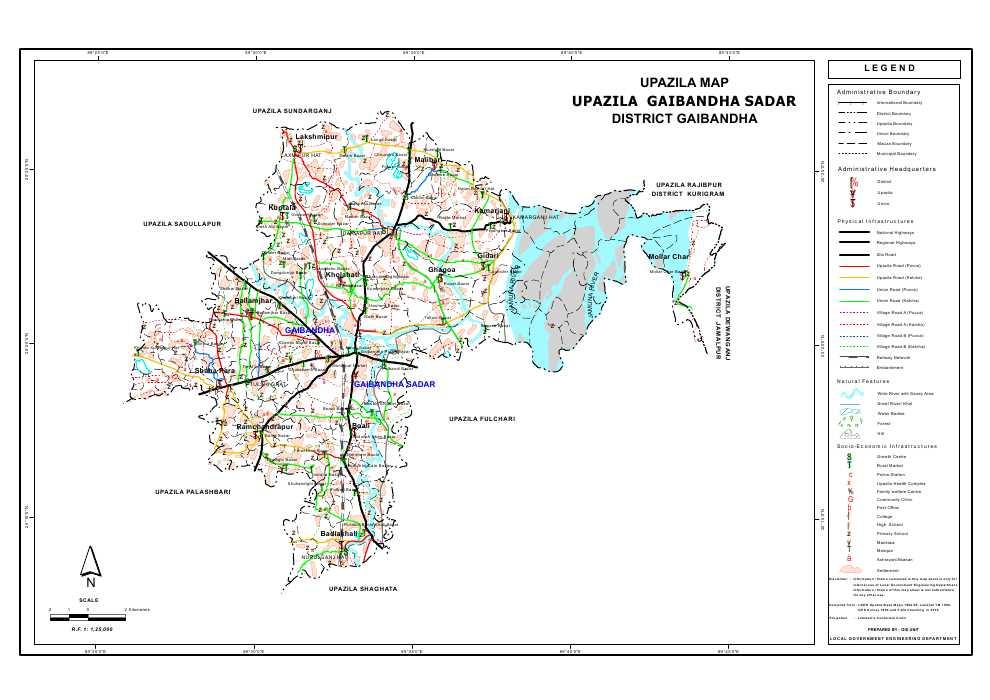 Gaibandha Sadar Upazila Map Gaibandha  District Bangladesh