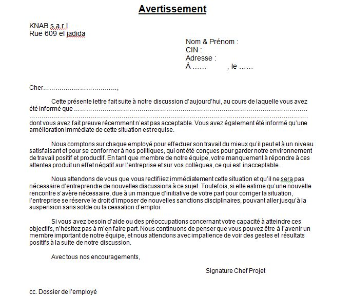 avertissement pour absence injustifiee