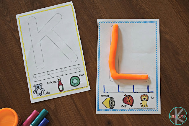 alphabet playdough mats are a fun way for toddler, preschool, pre k, and kindergarten age kids to practice forming uppercase letters, alphabet tracing, and working on phonemic awareness