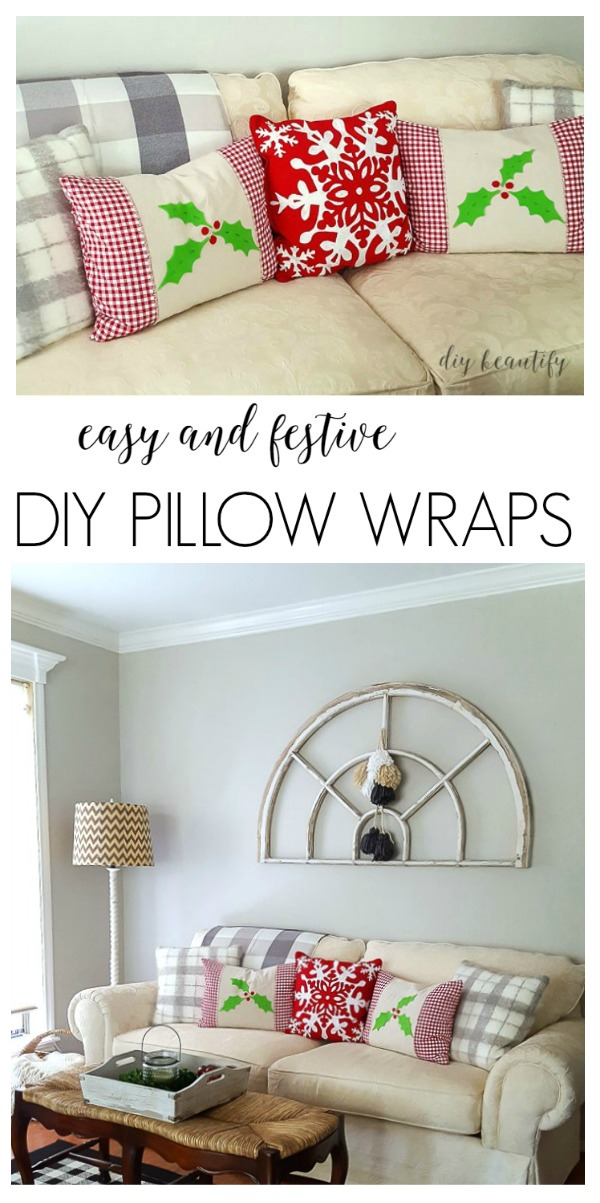 how to make easy pillow wraps to add a touch of Christmas