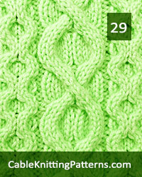 Cable Panel 29. Knit with 37 stitches and 16-row repeat. Techniques used: 3/3 right cross, 3/3 left cross, 3/1/3 left purl cross.