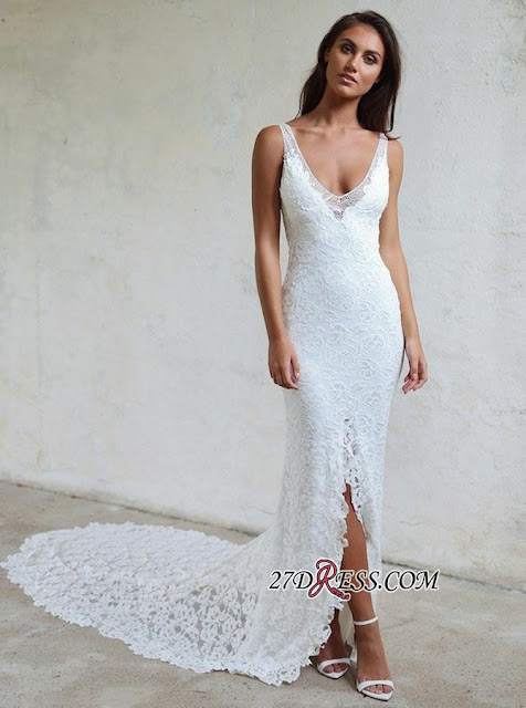Elegant Lace White Bodycon Wedding Dress | 2019 Front Split Bridal Gown