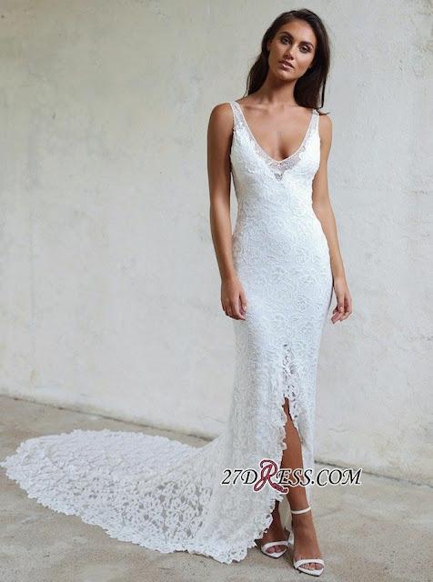 Elegant Lace White Bodycon Wedding Dress | 2019 Front Split Bridal Gown