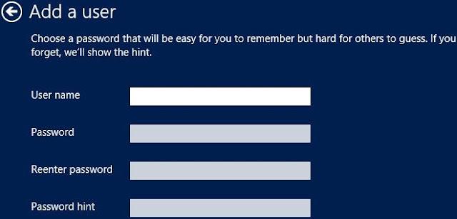 Windows 8, Ajouter un utilisateur, un compte local. Entrez le nouveau nom d'utilisateur, le mot de passe et le mot de passe. Ensuite, cliquez sur Suivant.
