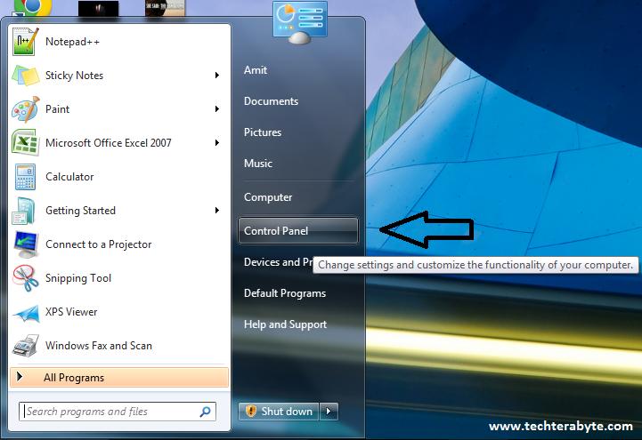 Select Control Panel - techterabyte