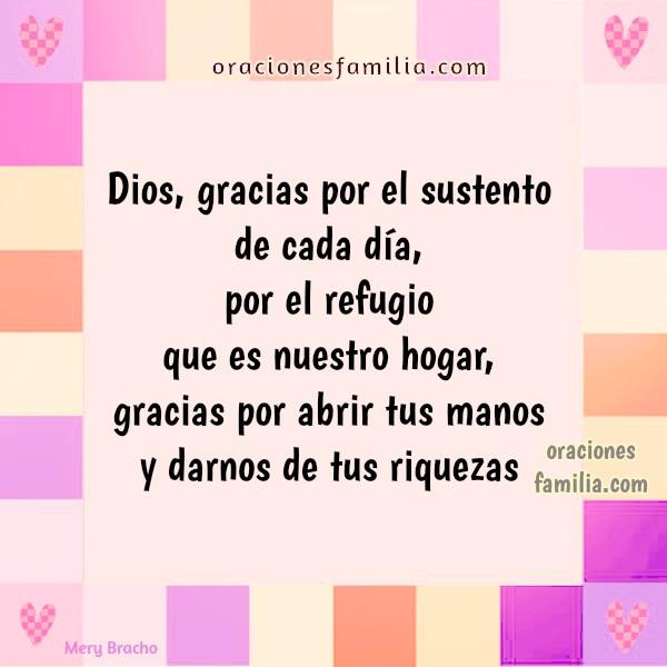 Oración corta de gracias a Dios por bendiciones a la familia, imágenes con bendición, frases de agradecimiento a Dios por mis hijos. Imagen cristiana por Mery Bracho.