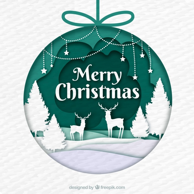 Christmas bauble decorated with a scene in paper style Free Vector