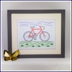 Bike stitching on card embroidery paper pricking pattern