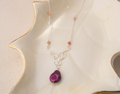 handmade magenta coin pearl statement necklace pendant peach grey moonstone gemstone